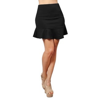 NE PEOPLE Women's Fitted Fishtail Flare Ruffle Party Work Mini Skirt