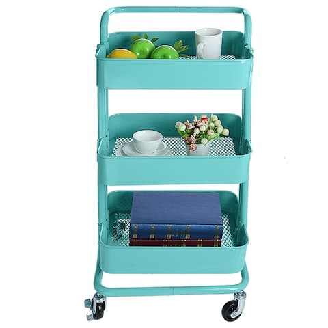 3 Tier Storage Rack Trolley Cart Home Kitchen Organizer
