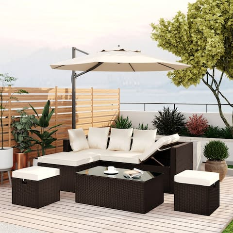 Patio Furniture Wicker Sectional with Adjustable Chair