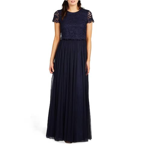 Donna Morgan Womens Dress Navy Blue Size 2 Two-Piece Lace Tulle Gown