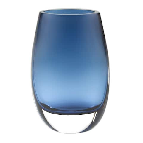 """8"""" Mouth Blown Crystal Oval Thick Midnight Blue Walled Vase"""