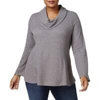 Style & Co. Gray Women's Size 3X Plus Cowl Neck Metallic Sweater
