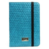 JAVOedge Turquoise Weaving Pattern Folio Style Book Case with Sleep/Wake, Hand Strap, Angled Stand for Apple iPad Mini 2