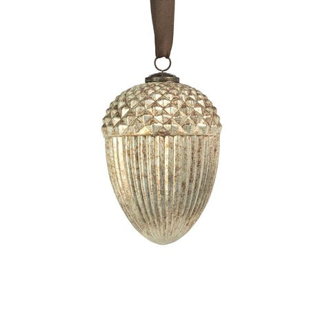 "6"" Antique Silver Acorn Hanging Ornaments, Set of 2"