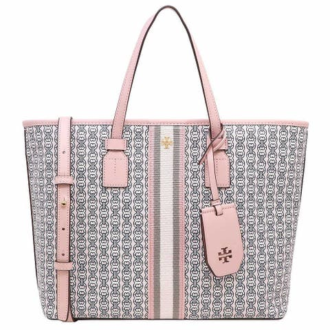 Tory Burch Gemini Link Canvas Small Tote Handbag Pink