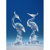 "Pack of 8 Icy Crystal Decorative Crested Heron Figurines 7.5"" - Clear"