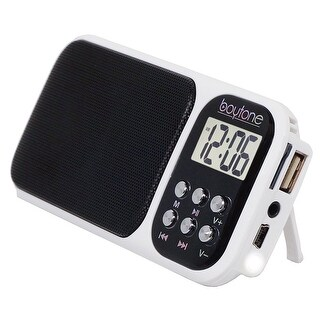 Boytone BT-92W FM Clock Radio Alarm, Built-in Speaker, Rechargeable Batteries, Headphone, LCD Tuning /USB, SD slot, AUX, Light