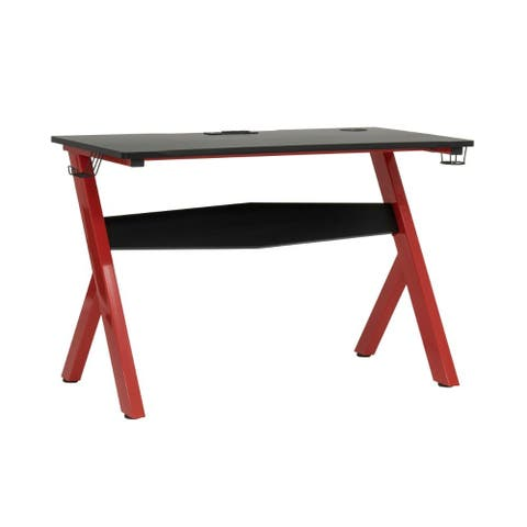 Offex Gaming Overlord PC Gamer Computer Desk with Textured Table Top, Charging Station - Racing Red Metal Legs/ Black Top
