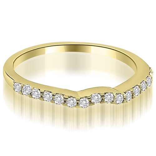 0.24 cttw. 14K Yellow Gold Curved Round Cut Diamond Wedding Ring