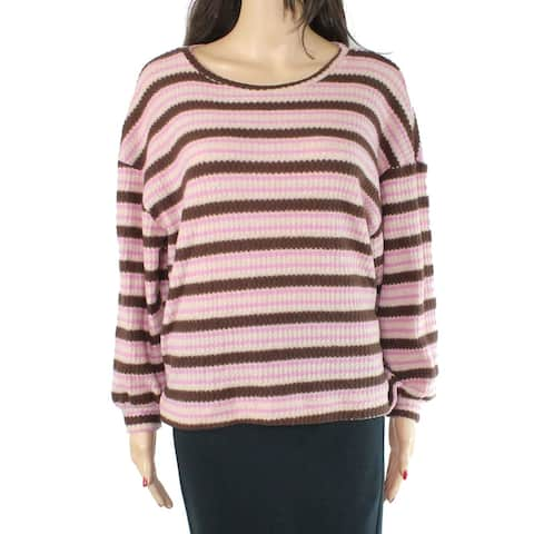 Lush Womens Tops Orchid Purple Pink Size S Pullover Striped Waffle Knit