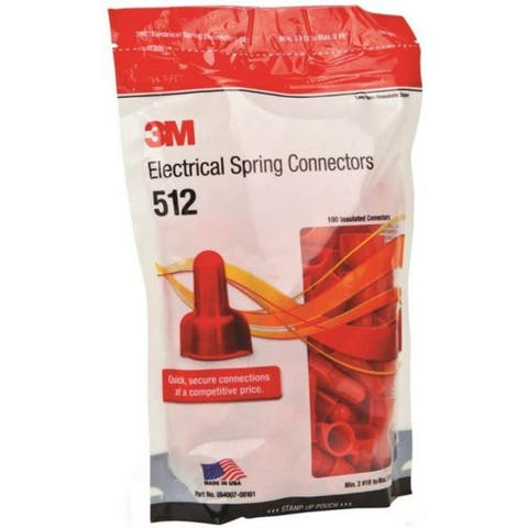 3M 512 Twist-On Electrical Spring Connector, 20 - 8 AWG, Red, 100-Pack