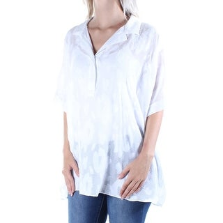 Womens White Dolman Sleeve Collared Top Size S