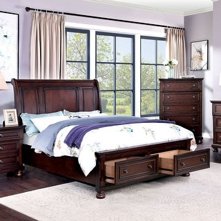 Furniture of America Boeh Transitional Cherry Platform Bed w/ Drawers