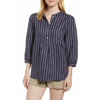 Nordstrom Signature Blue Women's Size Small S Striped Blouse