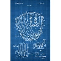 Baseball Glove Patent Poster (White on Blue Graph)-Sports Patents-24x16 Poster