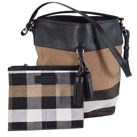 Burberry Medium Canvas Nova Check Ashby Purse Shoulder Bag W/Pouch