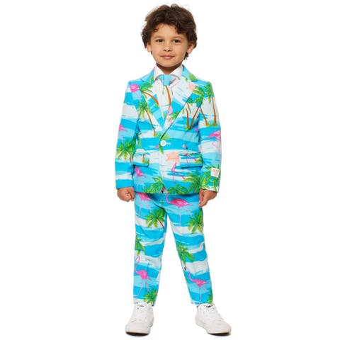 Blue and Pink Flaminguy Boy Child Flamingo Printed All Year Suit - Small