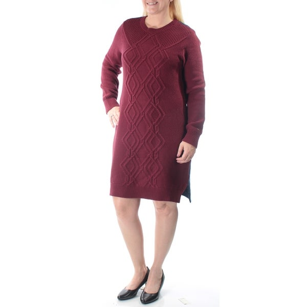 afed7aeb2dfa6 Shop TOMMY HILFIGER Womens Navy Textured Knitted Color Block Long Sleeve  Jewel Neck Above The Knee Tunic Dress Size  L - Free Shipping On Orders Over   45 ...