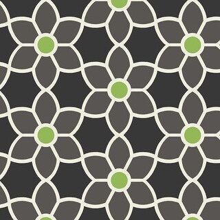 Brewster 2535-20606 Blossom Black Geometric Floral Wallpaper