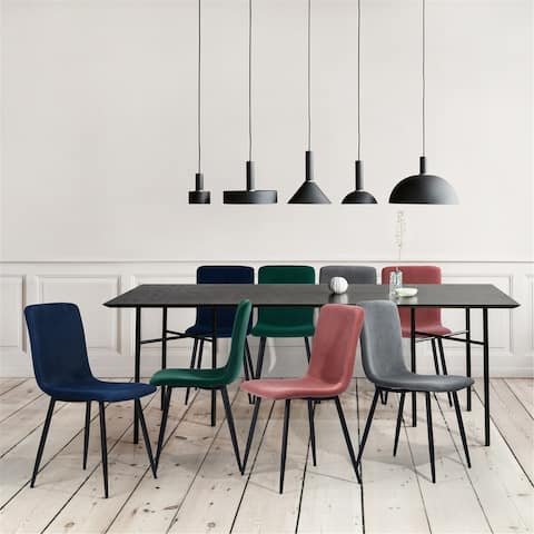 Furniture R Upholstered Side Dining Chair Black Leg (Set of 4)