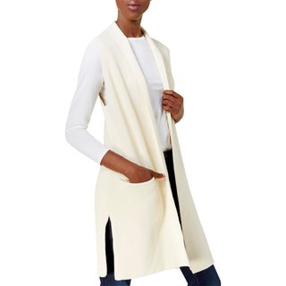 Kensie Womens Casual Vest Ribbed Shawl Collar