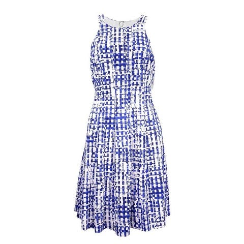 GUESS Women's Printed Fit & Flare Double Strap Dress