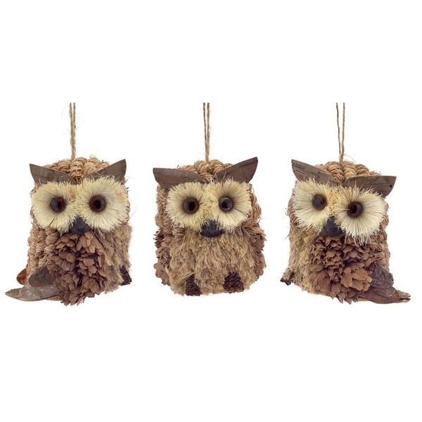 "Pack of 12 Country Rustic Jute and Pine Cone Owl Ornaments 3.5""H"
