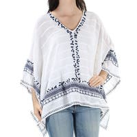 MICHAEL KORS $175 Womens New 1531 White Navy Sequined Embroidered Top S B+B