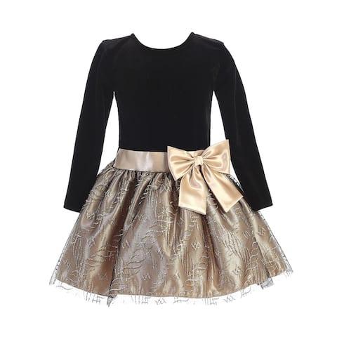 Lito Little Girls Black Velvet Long Sleeve Gold Sparkle Bow Christmas Dress