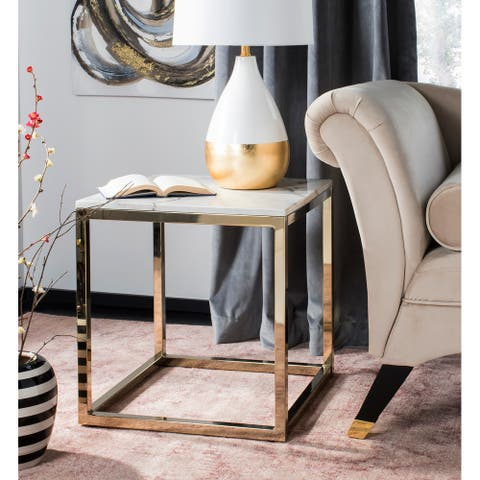 """Safavieh Bethany White/ Brass Square End Table - 19.6"""" x 19.6"""" x 20.5"""""""