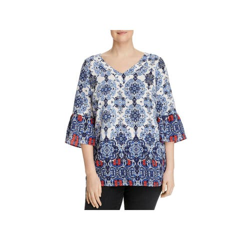 Status by Chenault Womens Plus Pullover Top Bell Sleeve Medallion Print