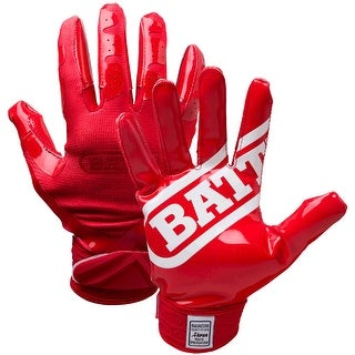 Battle Sports Science DoubleThreat UltraTack Football Gloves - Red/Red