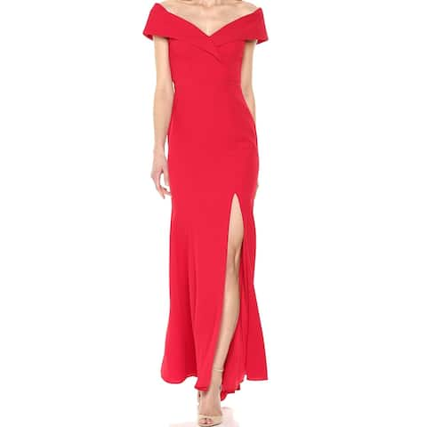 a16ea673c14 Xscape Bright Red Womens Size 8 Slit Off The Shoulder Gown Dress