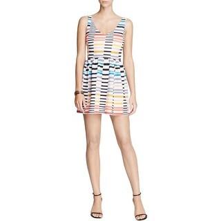 Aqua Womens Juniors Mini Dress Printed Double-V