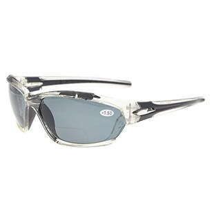 Eyekepper TR90 Unbreakable Sports Bifocal Sunglasses Clear Frame Grey Lens +1.5