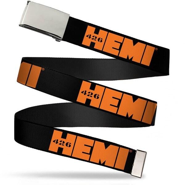 Blank Chrome Bo Buckle Hemi 426 Logo Repeat Black Orange Webbing Web Web Belt