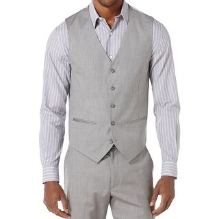 Perry Ellis Mens Suit Vest Herringbone Lined