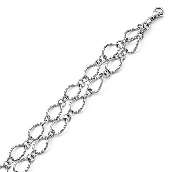 Chisel Stainless Steel Polished Double Strand Bracelet