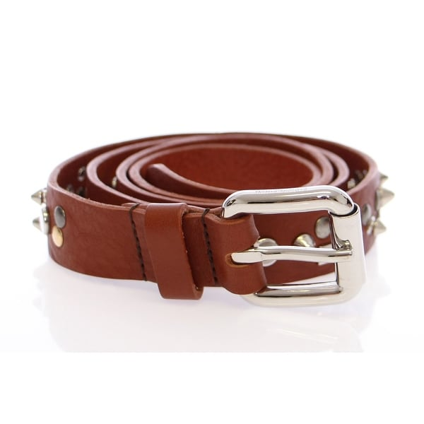 Dolce & Gabbana Brown Leather Logo Belt - 80-cm-32-inches