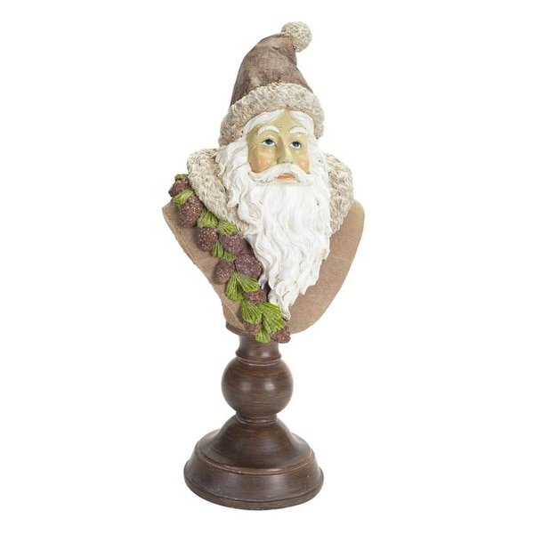 """Set of 2 Brown and White Christmas Santa Claus Bust Figurine with Pedestal Base 16"""""""