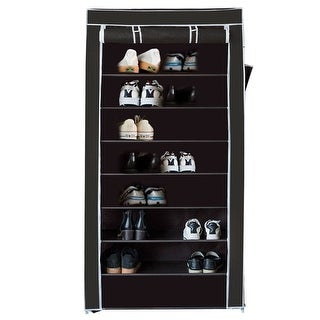 Costway 10 Tier Shoe Tower Rack With Fabric Cover 27 Pair Space Saving Organizer Black