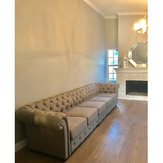 Knightsbridge Grey Linen Oversize Extra Long Tufted