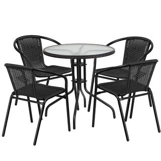 Skovde Round 28'' Glass Metal Table w/Black Rattan Edging and 4 Black Rattan Stack Chairs for Restaurant/Bar/Pub/Patio