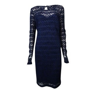 "Guess Women's ""Uma"" Chevron Textured Chevron Lace Dress - Navy"