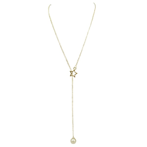 max & MO Pearl Pendant Through Star Loop Necklace - gold-pearl