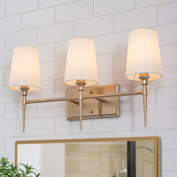 Bella Modern Gold Bathroom Vanity Light Beige Fabric Shade Wall Sconces for Powder Room. Opens flyout.