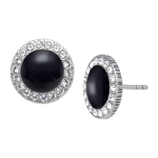 Van Kempen Art Deco Onyx Earrings with Swarovski Crystals in Sterling Silver - Black