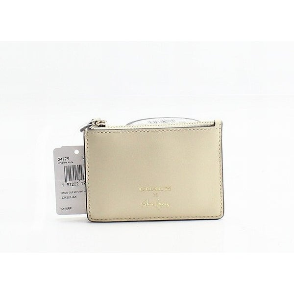 Shop Coach White Ivory Gold Leather Selena Gomez Zip Top ID Coin ... 2cf95db243516