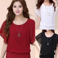 Summer Casual Plus Size Slim Bat sleeve Chiffon Shirt Women Blouse