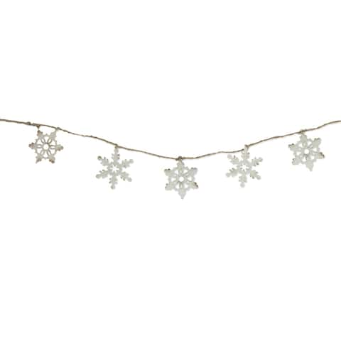 "5' x 3"" Ivory and Brown Metal Snowflake Artificial Christmas Garland - Unlit - Off-White"